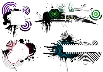 Four Grunge Designs, vector illustration layers file.