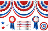 National American symbolics - flag and awards poster