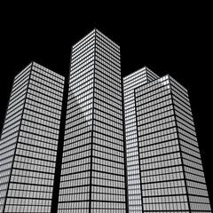 Hochhäuser mit schwarzen Hintergrund