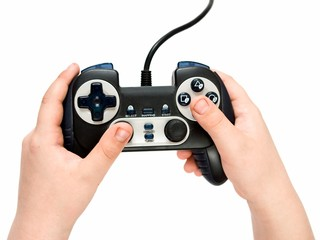 gamepad in hands