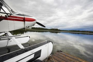 USA, Alaska, sea plane tied to pier, close up
