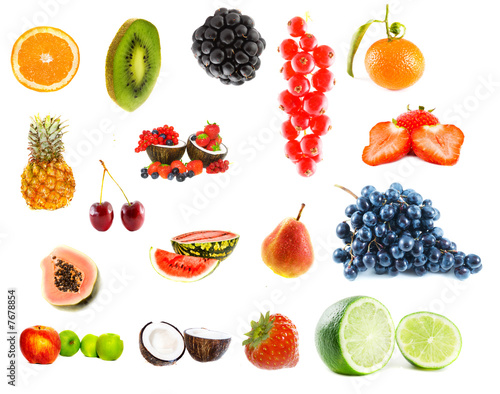 Assortment of fruit. Isolation on white