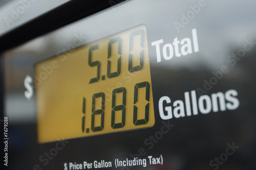 Screen of gas pump, close-up