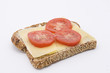 rye bread with cheese and tomatoes