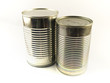 Two Shiny Food Tin Cans on White Background