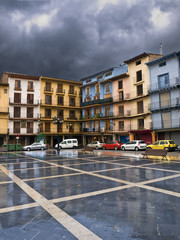 Calatayud main square after rain, Spain
