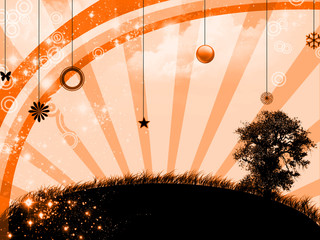 Sunset in abstract landscape - digital illustration