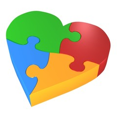 colorful heart puzzle