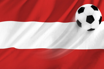 soccer ball on background of the flag austria