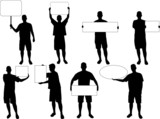 silhouettes holding a blank board, size of the board editable poster