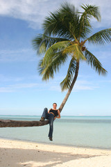 Relaxing on a palm