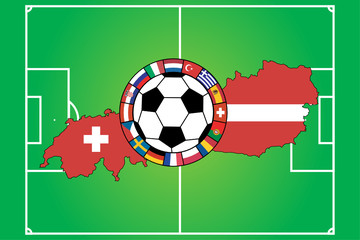 vector of soccer field with ball and 16 flags, Euro 2008