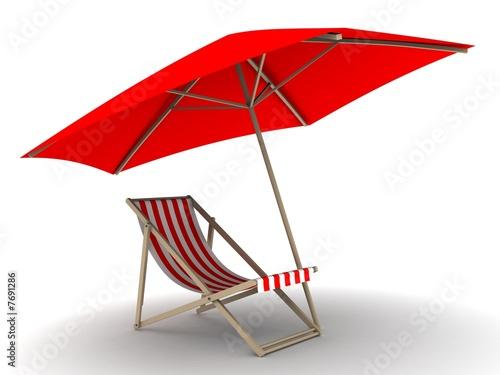 liegestuhl unter sonnenschirm stockfotos und lizenzfreie bilder auf bild 7691286. Black Bedroom Furniture Sets. Home Design Ideas