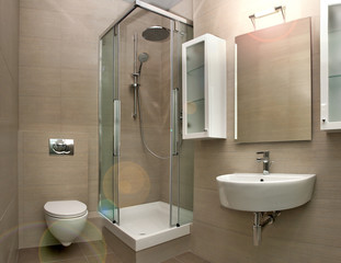 bathroom interior with light