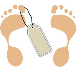 two feet with toe tag - death