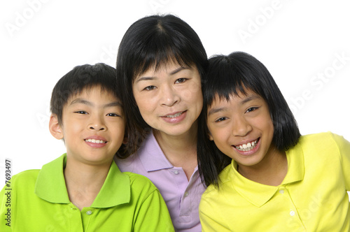 Asian portrait of happy young family