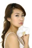 Fototapety Beautiful Asian woman and  orchid