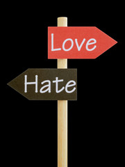 Emotional Dilemma Love and Hate, isolated signboard photo