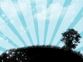 Blue sunrise with tree - digital illustration