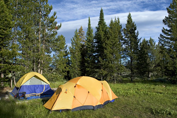 Two tents on camping in Grand Teton National park
