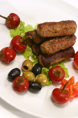 kebab rolls with olives pepper