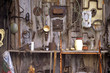 tool shed on rural barn door
