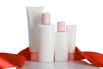 cosmetic bottles with tape