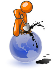 Orange Man Digging Oil