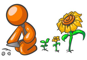 Orange Man Gardening