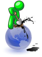 Green Man Digging Oil