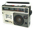 Dirty old 1980s style cassette player radio against a white back