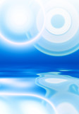 Abstract white flare over blue background poster