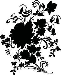 illustration with bouquet silhouette