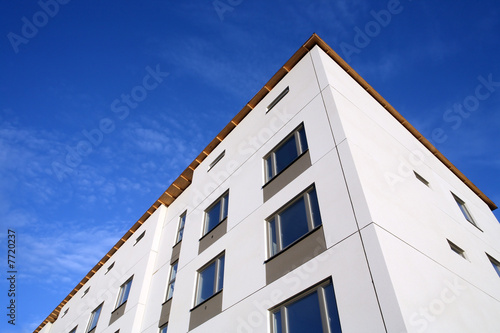shot of a facade of a new building at blue sky