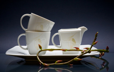 Set of three cups and tray with twigs on blue