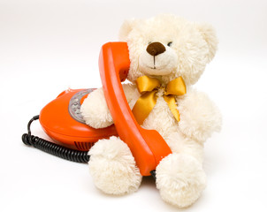 old red phone and bear
