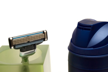 razor and dispenser on a white background
