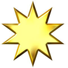 3D Golden 10 Point Star