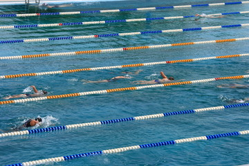 Swiming pool with swimmers training