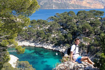 tourist in the calanques de cassis