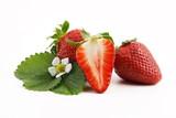 Fototapety leckere erdbeeren mit blumen