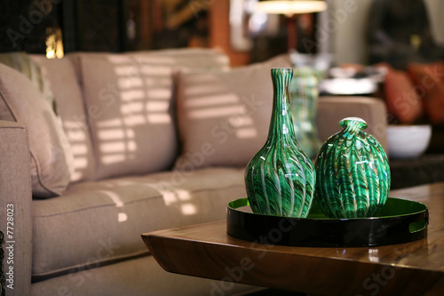 Modern furnishing and handblown glass