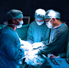 A medical team performing an operation