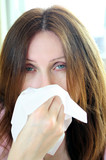 Woman with flu or allergy poster