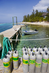 Caribbean Dock with Diving Tanks and Boat
