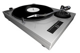A 3d rendered technics-style turntable, silver body poster