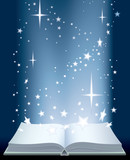 Book and shining stars poster