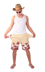 young man in shorts with splay empty pockets