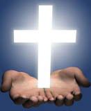 Hands hold out a bright shining white cross poster