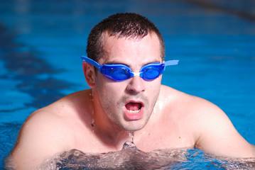 .man in swimming pool